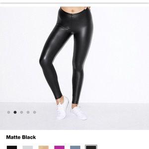 Matte black faux leather leggings